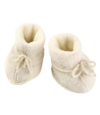 Engel Natur Engel- Babyschühchen mit Bändel und Flatlocknähten - Wollfleece - natur