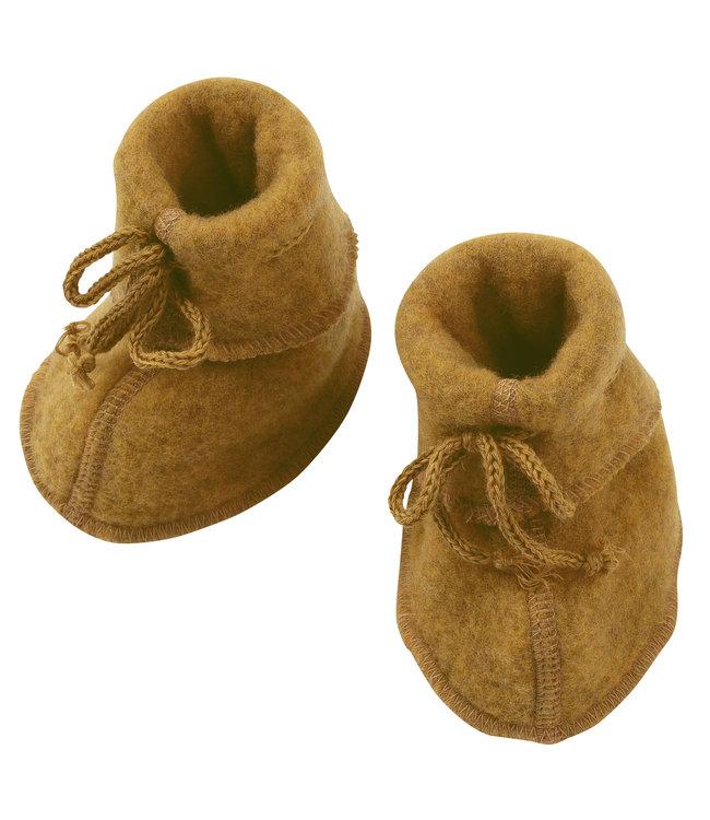Engel Natur Engel- Babyschühchen mit Bändel und Flatlocknähten - Wollfleece - safran