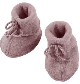 Engel natur Engel- Babyschühchen mit Bändel und Flatlocknähten - Wollfleece - rosenholz-melange