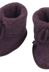Engel natur Engel- Babyschühchen mit Bändel und Flatlocknähten - Wollfleece - lila-melange