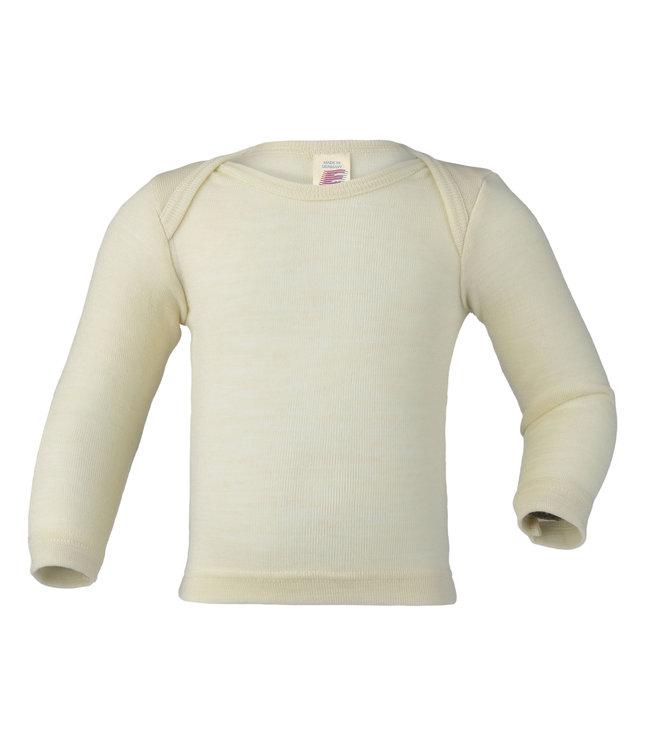 Engel Natur Engel - chemise bébé - manches longues - côtes fines - laine / soie - naturel