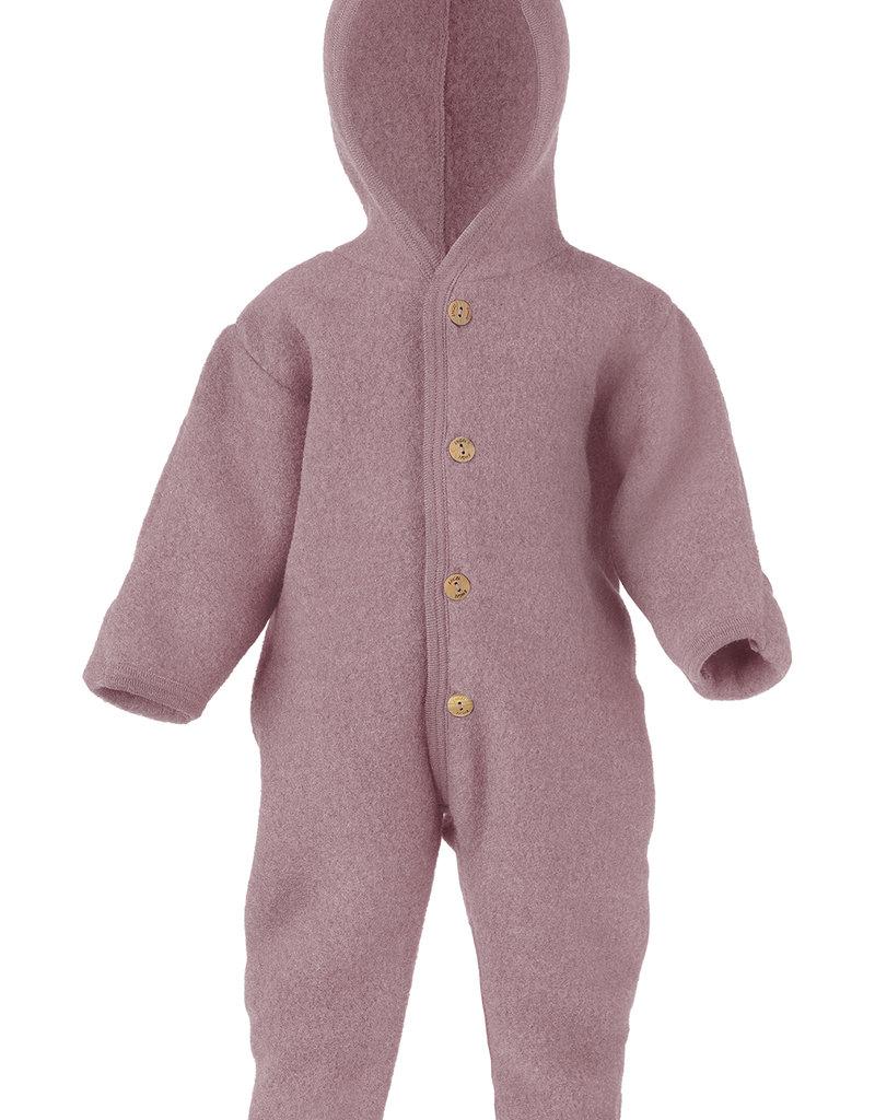 Engel Natur Engel Natur -  Baby-Overall mit Kapuze, Holzknöpfen und Umschlägen zum Verschließen an Armen und Beinen, Fleece  - rosenholz melange