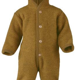Engel Natur Engel Natur -  Baby-Overall mit Kapuze, Holzknöpfen und Umschlägen zum Verschließen an Armen und Beinen, Fleece  - safran melange