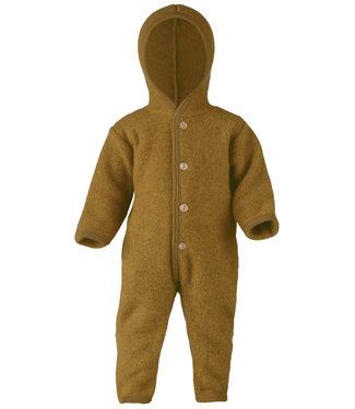 Engel Natur Baby-Overall mit Kapuze, Holzknöpfen und Umschlägen zum Verschließen an Armen und Beinen, Fleece  - safran melange