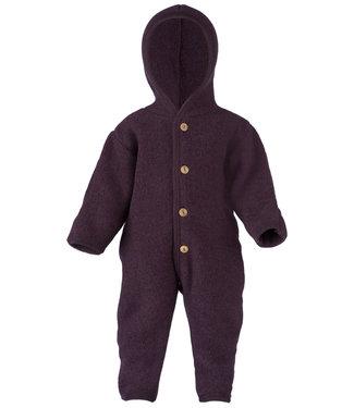 Engel Natur Baby-Overall mit Kapuze, Holzknöpfen und Umschlägen zum Verschließen an Armen und Beinen, Fleece  - lila melange