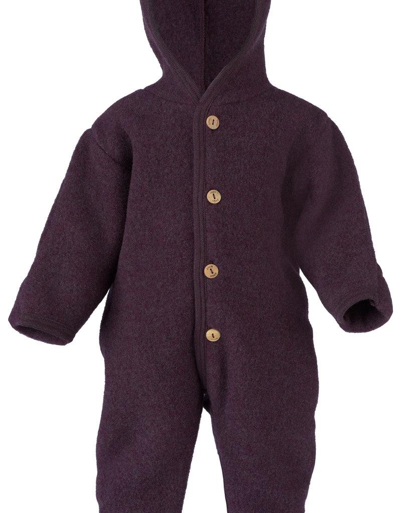 Engel Natur Engel Natur -  Baby-Overall mit Kapuze, Holzknöpfen und Umschlägen zum Verschließen an Armen und Beinen, Fleece  - lila melange