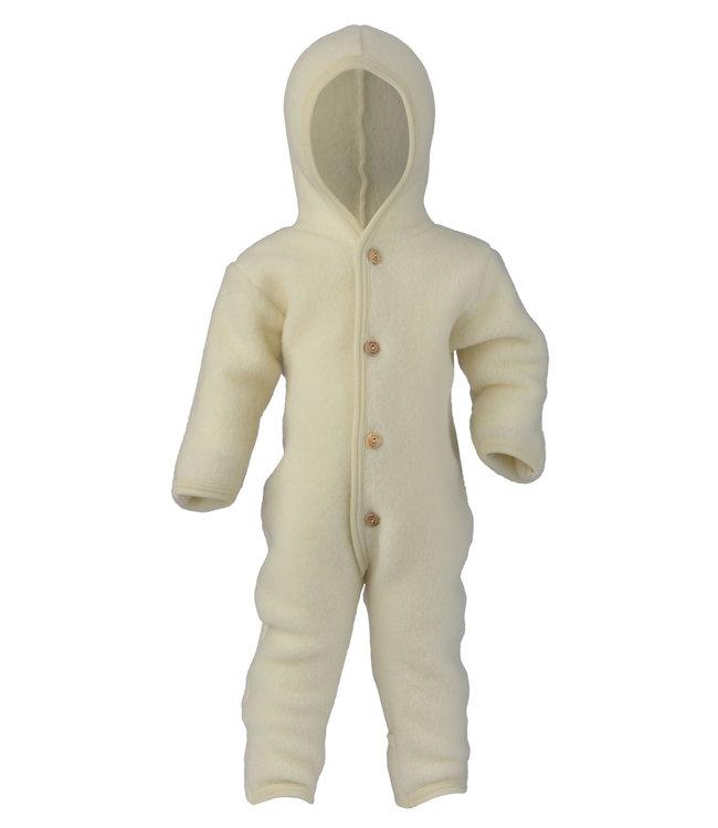 Engel Natur Baby-Overall mit Kapuze, Holzknöpfen und Umschlägen zum Verschließen an Armen und Beinen, Fleece  - natur