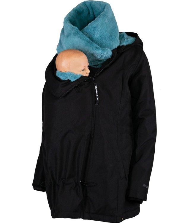 Wombat Tragejacke - Schwangerschaftsjacke - Wombat Wallaby 2.0 - schwarz/blau