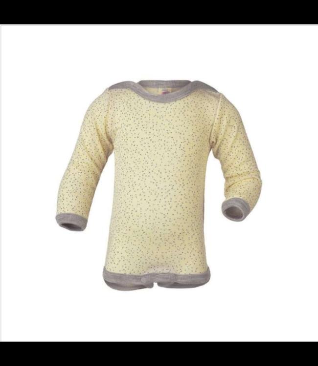 Engel Natur Baby-Body langarm Wolle/Seide - Druckknöpfe an den Schultern - natur bedruckt