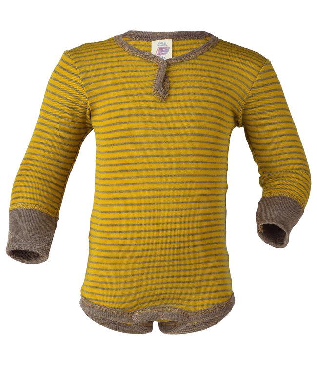 Engel Natur Body pour bébé - à manches longues - avec bouton-poussoir sur le devant - laine / soie - fines côtes - safran / noyer