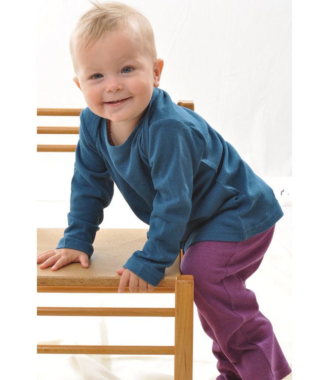 Alkena Alkena - chemise à enfiler - soie bourette - à manches longues - saphir