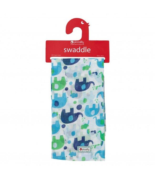 piccalilly piccalilly - couverture en mousseline, serviette à langer/allaitement - éléphant bleu