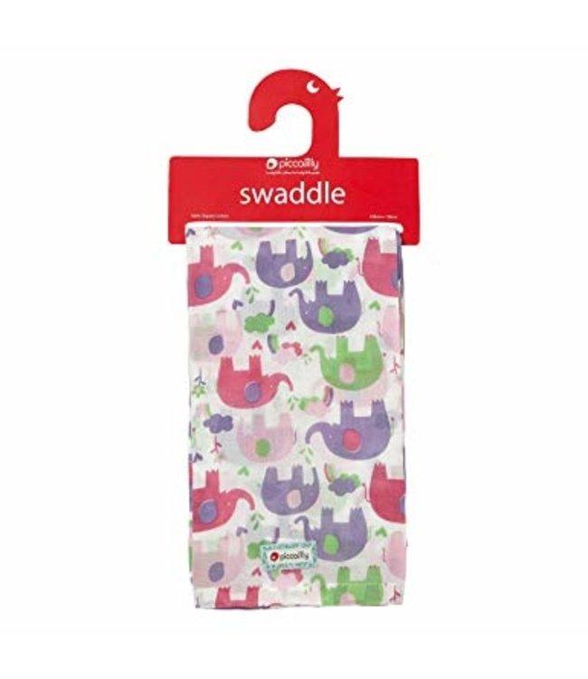 piccalilly piccalilly - couverture en mousseline, serviette à langer/allaitement - éléphant rose