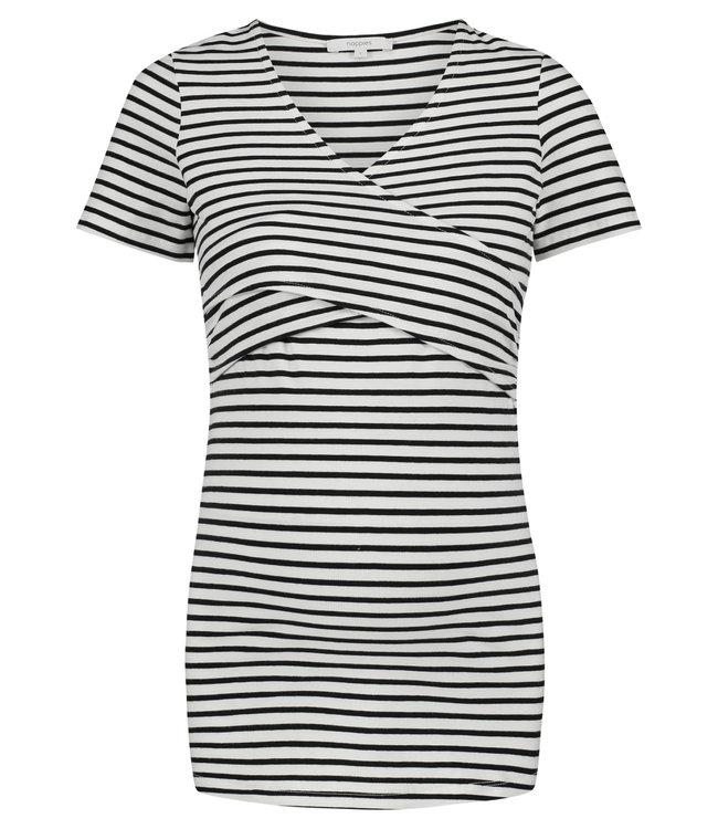 Noppies Noppies - T-Shirt d'allaitement Bente - avec coton bio - Guimauve - rayures noires et blanches