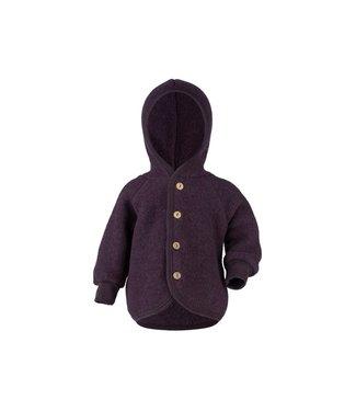 Engel Natur Veste à capuche avec boutons en bois - laine polaire - violet chiné