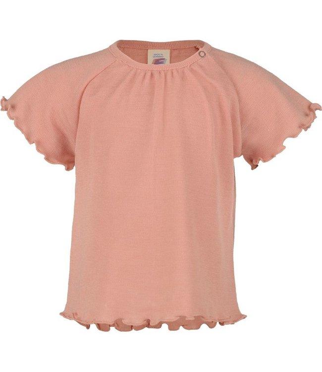 Engel Natur Baby-Shirt kurzarm in A-Form, Wolle/Seide - mit Druckknopf auf der Schulter - lachs