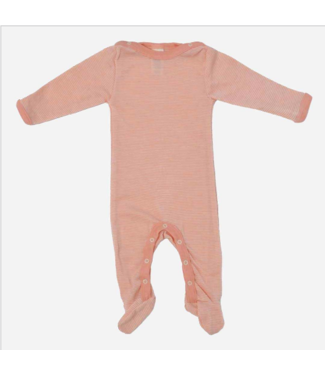 Engel Natur Schlafoverall, Pyjama - Wolle/Seide - mit Füssen -lachs/natur