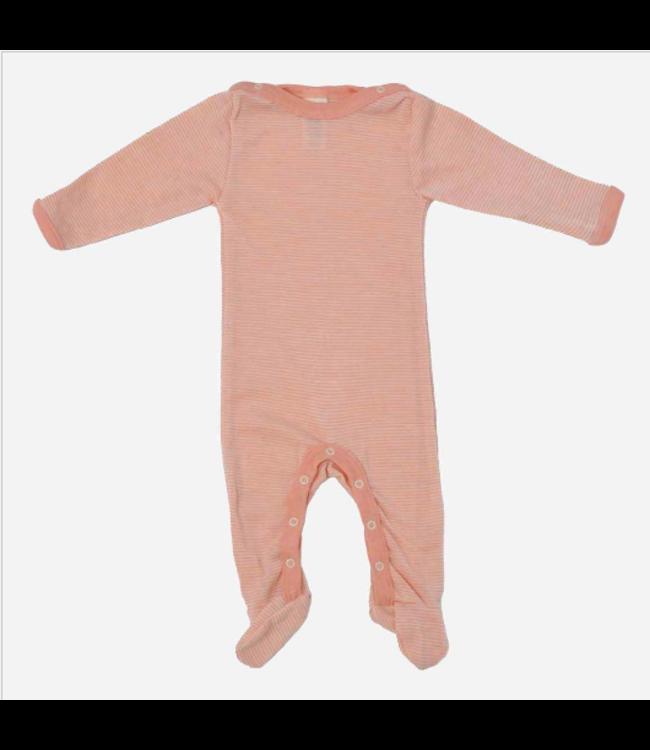 Engel Natur Engel Natur - pyjamas, pyjamas - laine / soie - avec pieds - saumon / naturel