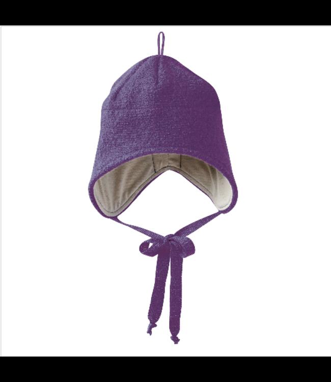 Disana Disana - bonnet en laine bouillie à liens - violet - prune