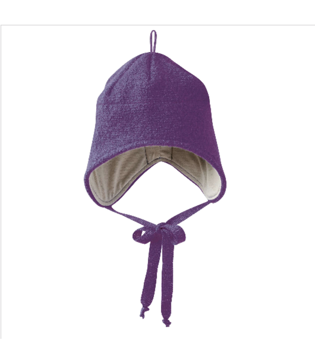 Disana Disana - Walk-Mütze mit Bindebänder - violett - pflaume