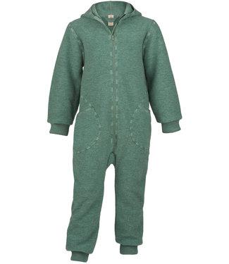Engel Natur Combinaison en laine pour bébés et enfants - avec capuche et fermeture éclair -  jade melange