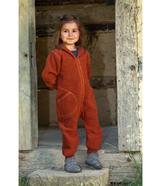 Engel Natur Combinaison en laine pour bébés et enfants - avec capuche et fermeture éclair - magma melange