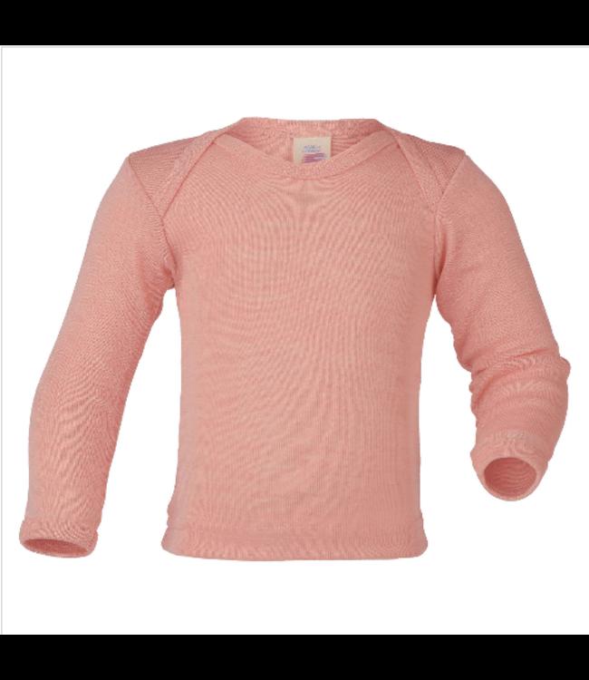 Engel Natur Engel Natur - chemise à enfiler pour bébé - laine / soie - manches longues, côtes fines - saumon