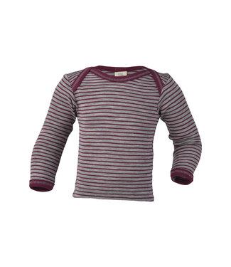 Engel Natur Engel Natur - chemise à enfiler pour bébé - laine / soie - manches longues, côtes fines - gris clair chiné / orchidée