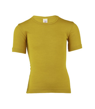 Engel Natur Kinder-Unterhemd kurzarm, Wolle/Seide, Feinripp - safran