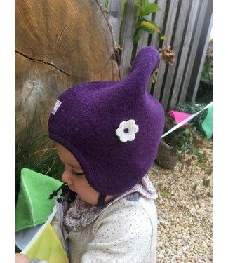 Pick a Pooh Pick a Pooh - Mütze aus Wollwalk - Zipfelmütze mit Blume - violett