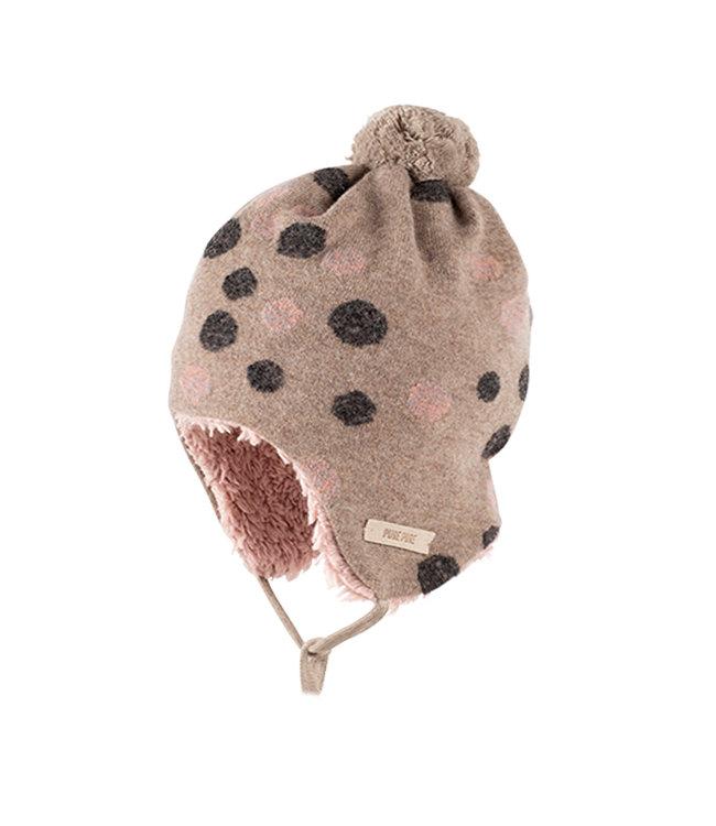 Pure Pure (By Bauer) Pure Pure - bonnet d'hiver douillet - laine/peluche - rose/anthracite avec des points