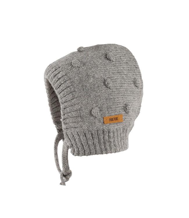 -Pure Pure- by Bauer Pure Pure - bonnet tricoté alpaga-laine mérinos mélangée - gris chiné