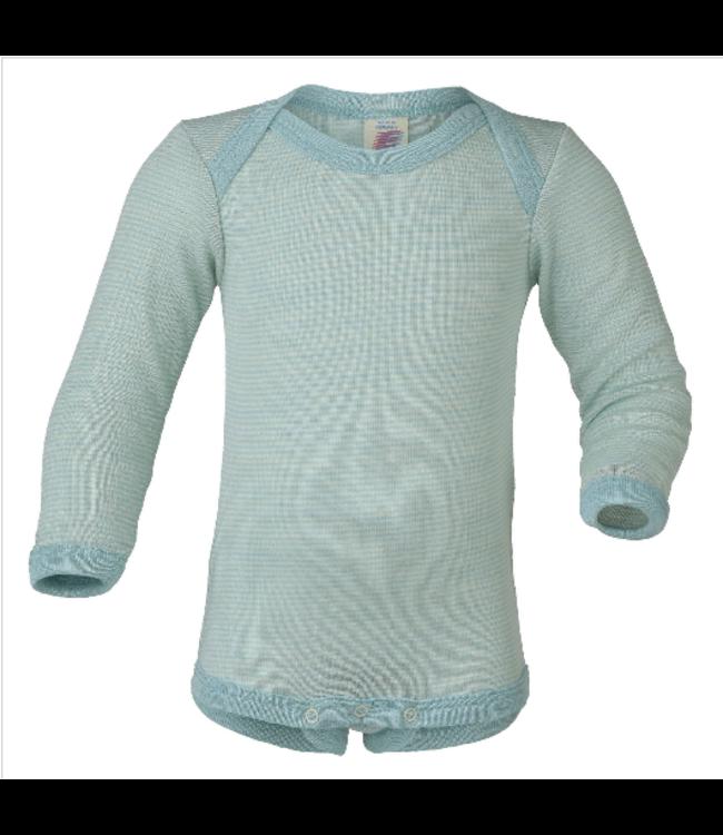 Engel Natur Baby-Body langarm, Feinripp - ohne Knöpfe - gletscher/natur