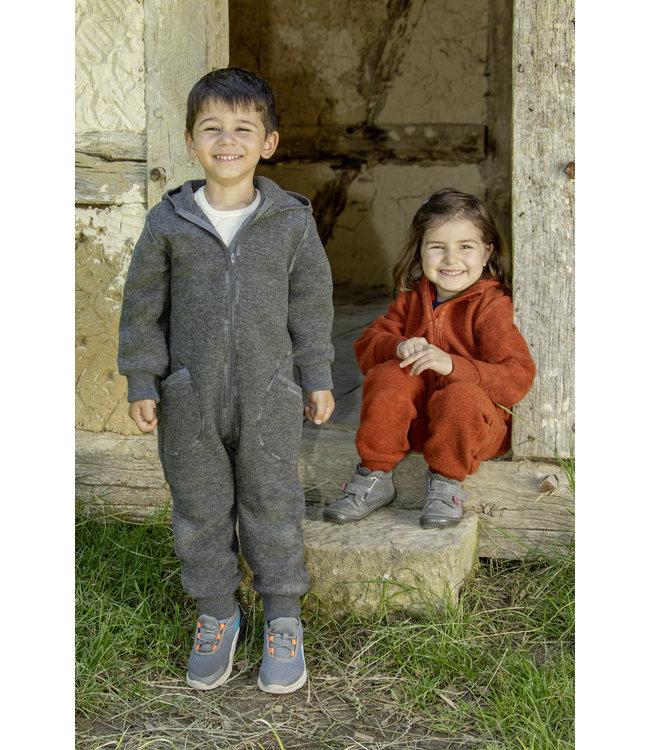Engel Natur Combinaison en laine pour bébés et enfants - avec capuche et fermeture éclair - gris lave mélange
