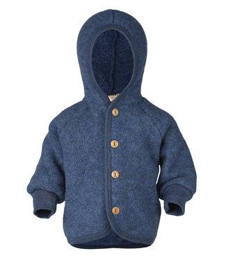 Engel Natur Veste à capuche avec boutons en bois - laine polaire - bleu chiné
