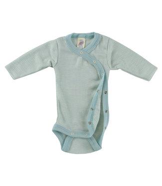 Cache Coeur Body cache-cœur bébé prématuré à manches longues, avec boutons pression sur le côté, côtes fines - glacier / naturel