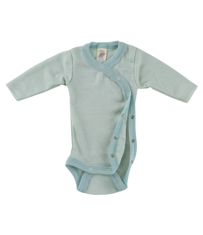 Engel Natur Body cache-cœur bébé prématuré à manches longues, avec boutons pression sur le côté, côtes fines - glacier / naturel