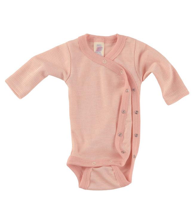 Cache Coeur Engel bébé prématuré - corps cache-cœur à manches longues, avec boutons-pression sur le côté, côtes fines - saumon / naturel