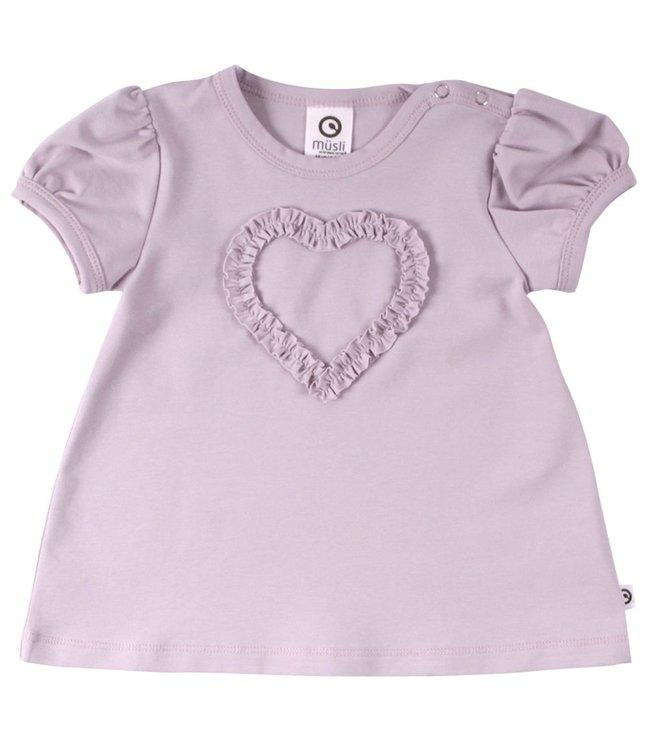 Müsli T-shirt avec application cœur - marble