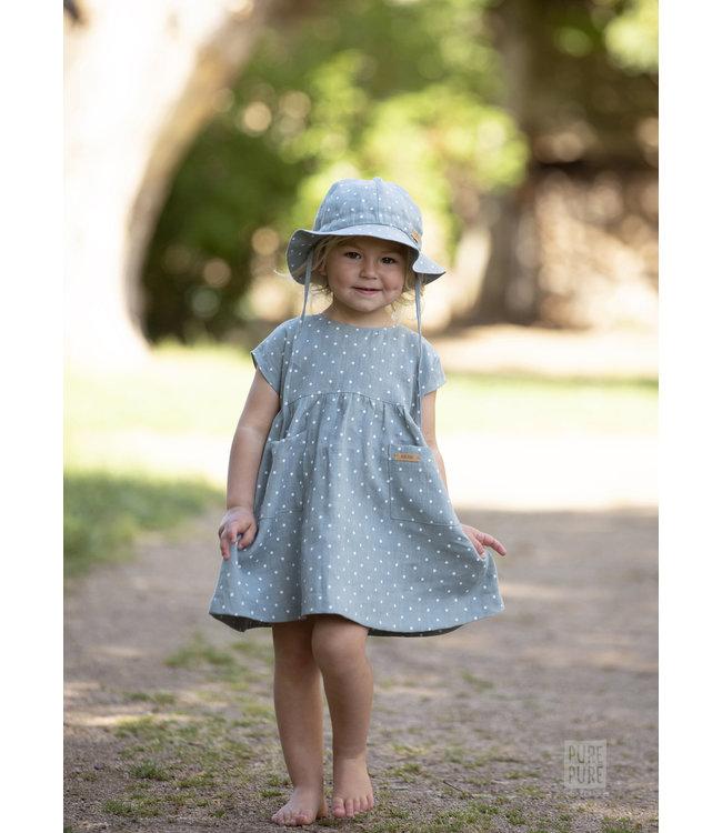 Pure Pure by Bauer Kids-Kleidchen - gepunktet -Leinen - mint