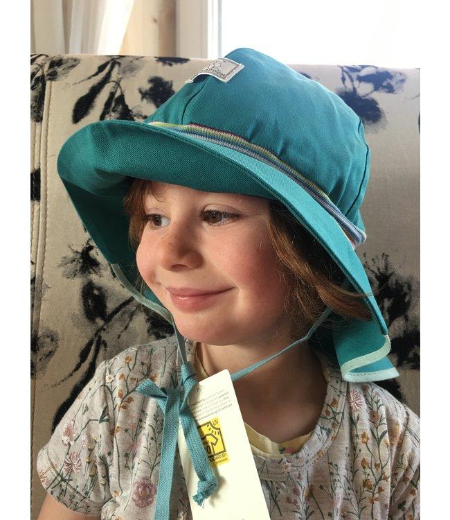 Pick a Pooh Chapeau de soleil pompiers - ceinture tricotée turquoise - UV 80