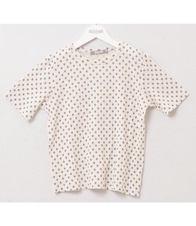 Alkena T-shirt manches courtes enfant - soie bourette - naturel avec étoiles