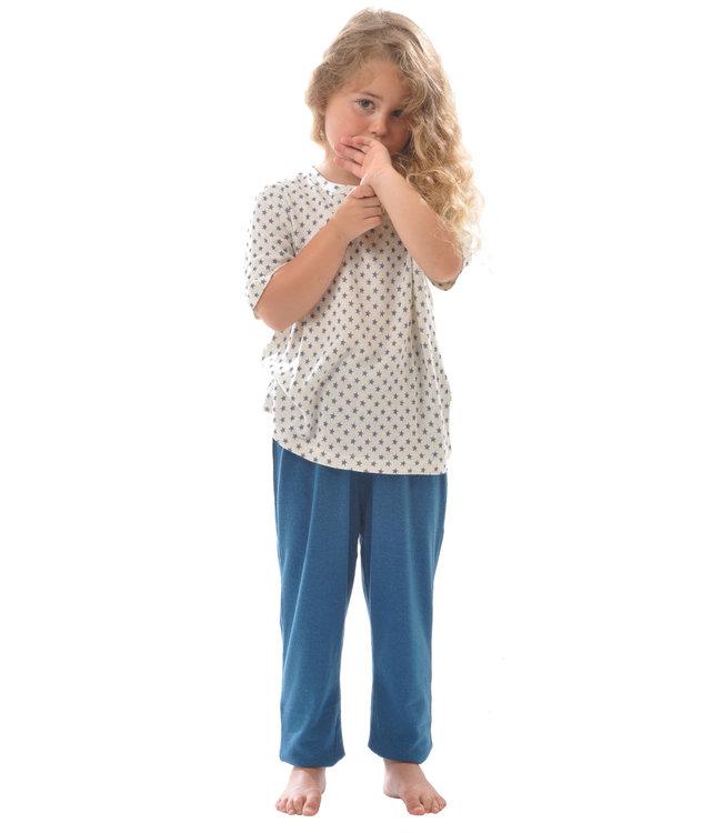 Alkena Kinder T-Shirt kurzarm - Bouretteseide - natur mit Sternen