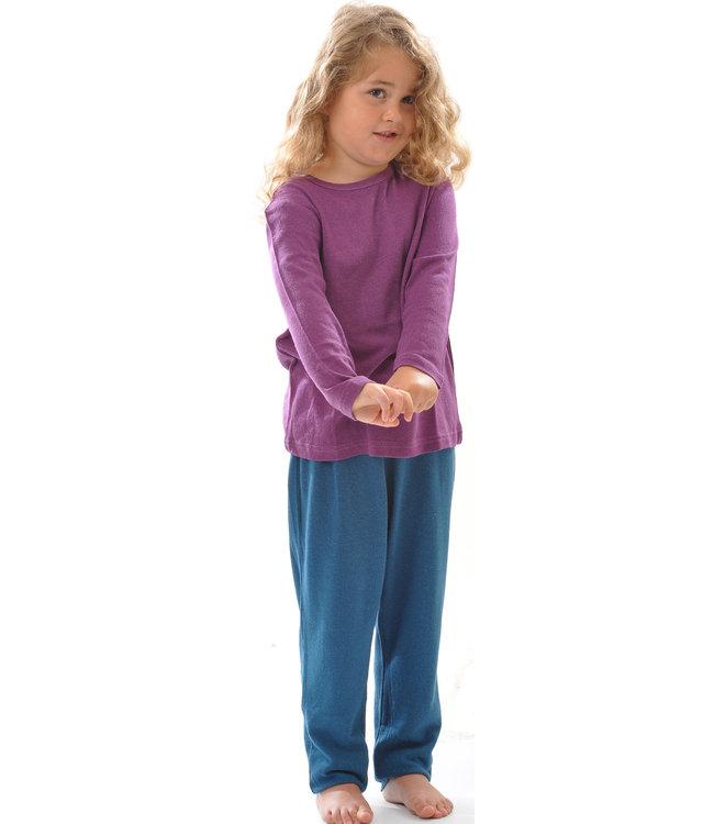 Alkena Chemise enfant manches longues - soie bourette - prune