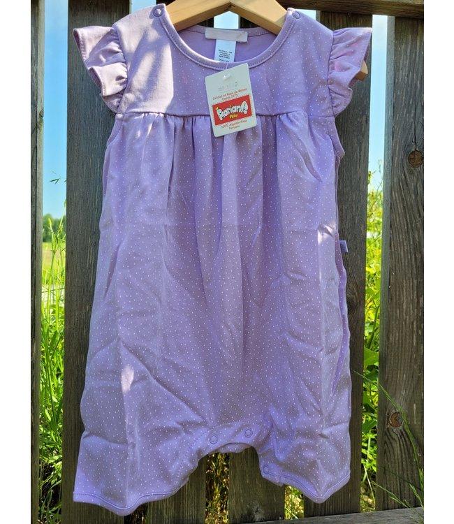 Mariana Barboteuse à manches courtes - violet à pois blancs