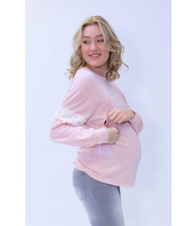 love2wait Pull allaitement et maternité - avec dentelle - crochet rose