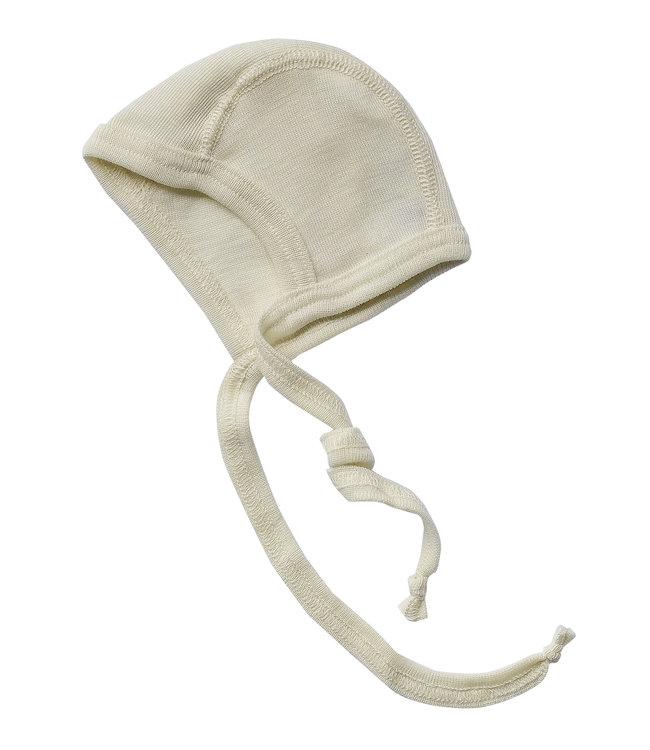 Engel Natur Bonnet bébé, côtes fines - laine / soie - naturel