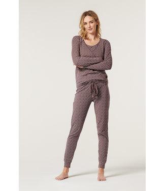 ESPRIT Pyjama Oberteil  - Schwangerschaft/Stillzeit - Sternen - taupe - bio