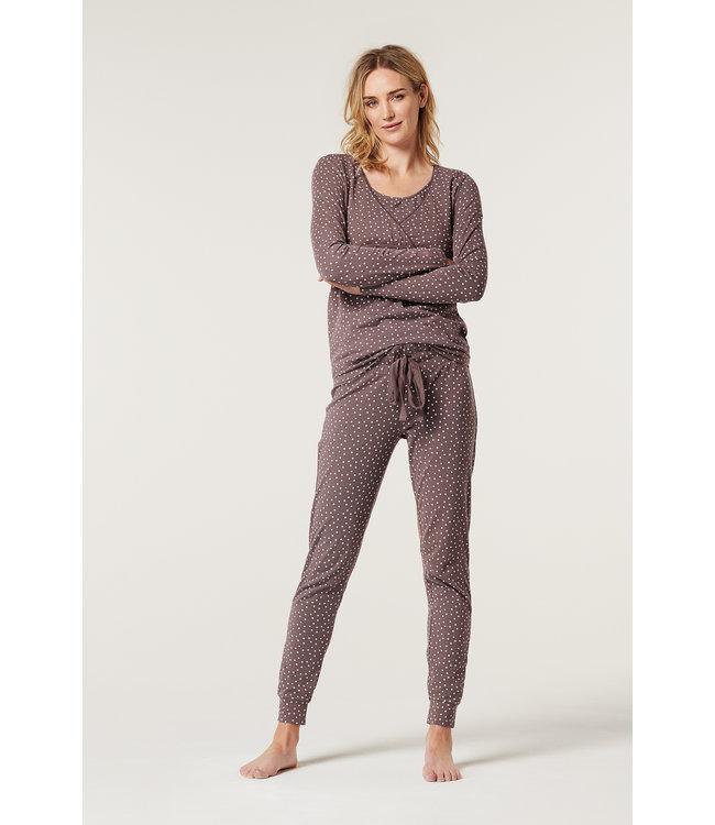 ESPRIT Haut de pyjama - grossesse / allaitement - étoiles - taupe - bio