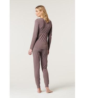 ESPRIT Pyjama Hose  - Schwangerschaft/Stillzeit - Sternen - taupe - bio